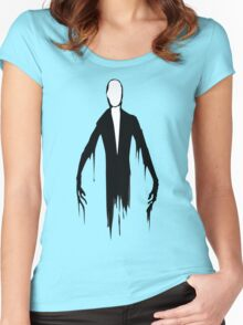 Slenderman slender man creepypasta geek funny nerd Women's Fitted Scoop T-Shirt