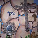 Bluebird and Crosses Bedroom Mural by redqueenself