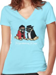 Pugs make Drugs Women's Fitted V-Neck T-Shirt