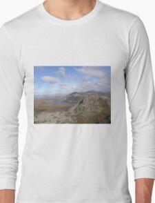 Mountain range view from Errigal Mountain Donegal Ireland Long Sleeve T-Shirt