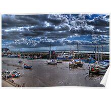 Bridlington Harbour at Low Tide Poster
