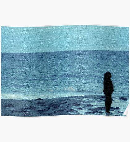 Beachy Blue Silhouette Poster