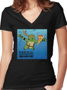 Turtlevana: Ninjamind Women's Fitted V-Neck T-Shirt