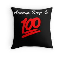 Keep it 100 Emoji Shirt alt Throw Pillow