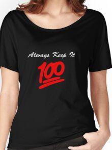Keep it 100 Emoji Shirt alt Women's Relaxed Fit T-Shirt