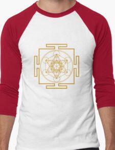 Yantra metatrons cube merkaba sacred geometry geek funny nerd Men's Baseball ¾ T-Shirt
