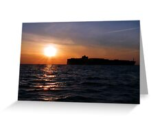 Freighter at daybreak Greeting Card