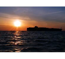 Freighter at daybreak Photographic Print