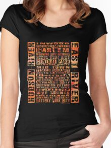 NYC Neighborhoods Orange Women's Fitted Scoop T-Shirt