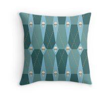 Coffin Plaid Blue Throw Pillow
