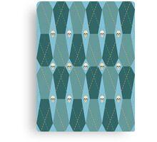 Coffin Plaid Blue Canvas Print