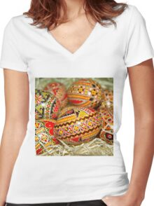 Easter Eggs Women's Fitted V-Neck T-Shirt