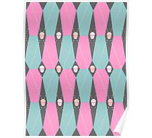 Coffin Plaid Pink Poster