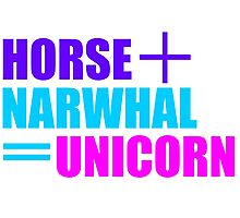 Horses and Narwhals Photographic Print