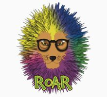 Funky Psychedelic Rainbow Bespectacled Lion ROAR One Piece - Short Sleeve
