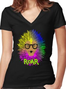 Funky Psychedelic Rainbow Bespectacled Lion ROAR Women's Fitted V-Neck T-Shirt