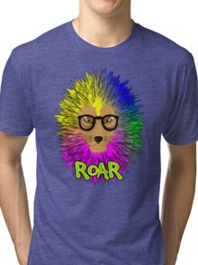 Funky Psychedelic Rainbow Bespectacled Lion ROAR Tri-blend T-Shirt