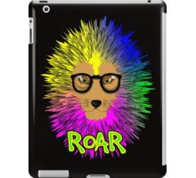 Funky Psychedelic Rainbow Bespectacled Lion ROAR iPad Case/Skin