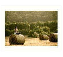 Presence of Mind - Hay Bale Relaxation in Hungary Art Print