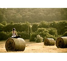 Presence of Mind - Hay Bale Relaxation in Hungary Photographic Print