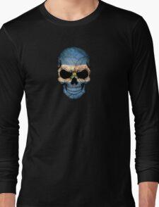 El Salvador Flag Skull Long Sleeve T-Shirt