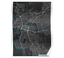 Sacramento city map black colour Poster