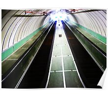 Escalators in Tyne Pedestrian Tunnel, Tyneside Poster