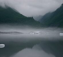 Mist Rising from Glacial Waters by exploringfox