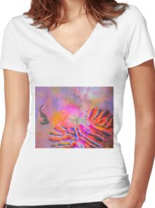 Two in one watercolor stylized views Women's Fitted V-Neck T-Shirt