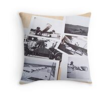 Black and White Old Military Snap Shots Throw Pillow