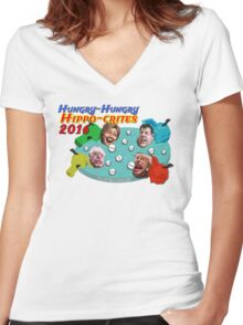 Hungry Hungry Hippo-crites 2016 Women's Fitted V-Neck T-Shirt