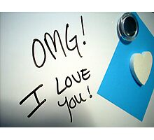 Whiteboard Love: OMG! Photographic Print