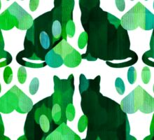 Green Cats and Paws Sticker