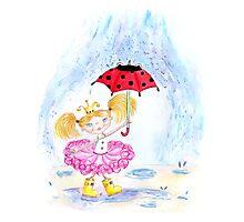Rainy day girl with ladybird umbrella  Photographic Print