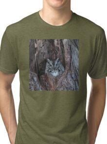Little Screech Owl Grey Phase Tri-blend T-Shirt