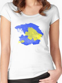 Watercolor Blue and Yellow Women's Fitted Scoop T-Shirt