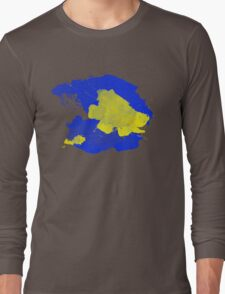 Watercolor Blue and Yellow Long Sleeve T-Shirt