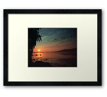 Sunset Over the Dock Framed Print