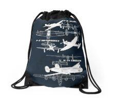 Three Planes (White Vers.) Drawstring Bag