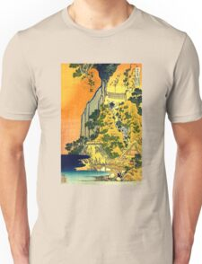 'Waterfalls in All Provinces' by Katsushika Hokusai (Reproduction) Unisex T-Shirt