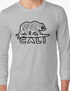 Cali Bear White with Black Long Sleeve T-Shirt