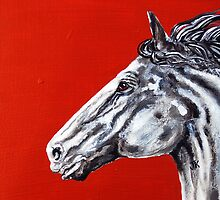 Redgrey - Abstract Horse Painting by jlkinsey