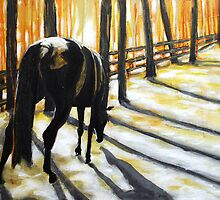 Late Sun - Abstract painting of horse grazing by jlkinsey