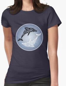 Yin yang dolphin Womens Fitted T-Shirt