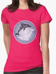 Yin yang dolphin Womens Fitted T-Shirt