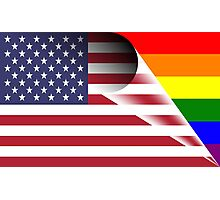 American Flag Gay Pride Rainbow Photographic Print
