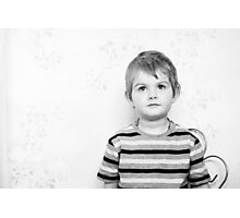 Ollie on the Wall in B&W Photographic Print