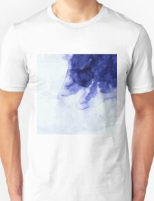 Inky Spill Deep Blue Ink on Washed White Unisex T-Shirt