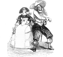 """Lucinda & the German"" engraving after Gigoux, Gil Blas 1835 by OldeArte"