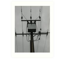 Power Pole in Grey Skies Art Print